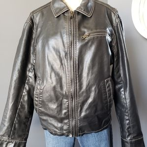 Lucky Mens Black Faux Leather Jacket size M